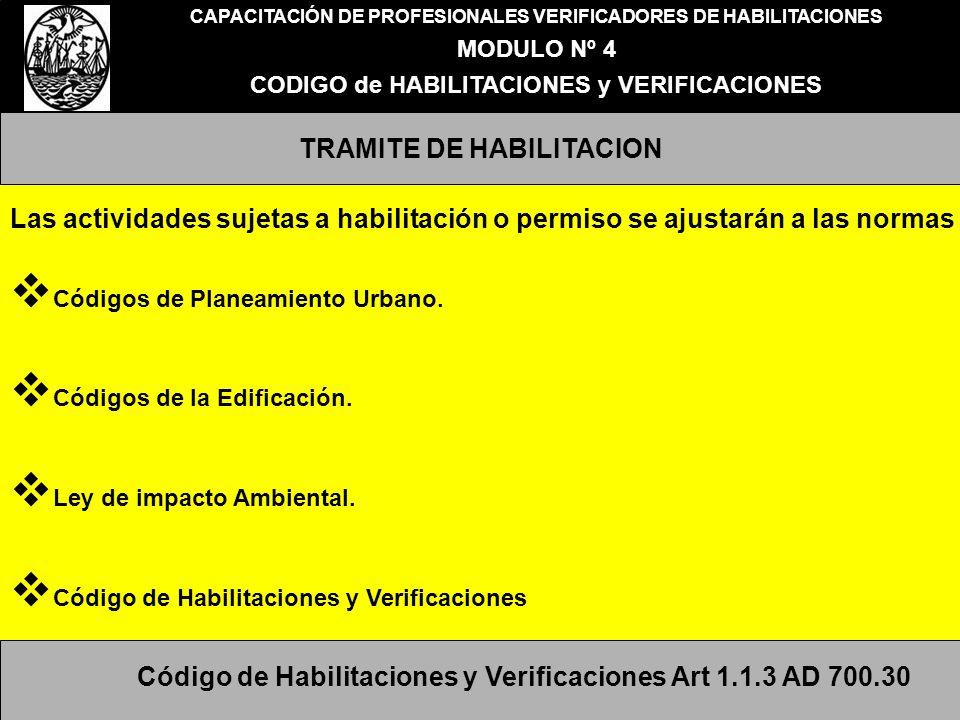 CAPACITACIÓN DE PROFESIONALES VERIFICADORES DE HABILITACIONES MODULO Nº 4 CODIGO de HABILITACIONES y VERIFICACIONES TRAMITE DE HABILITACION Las activi