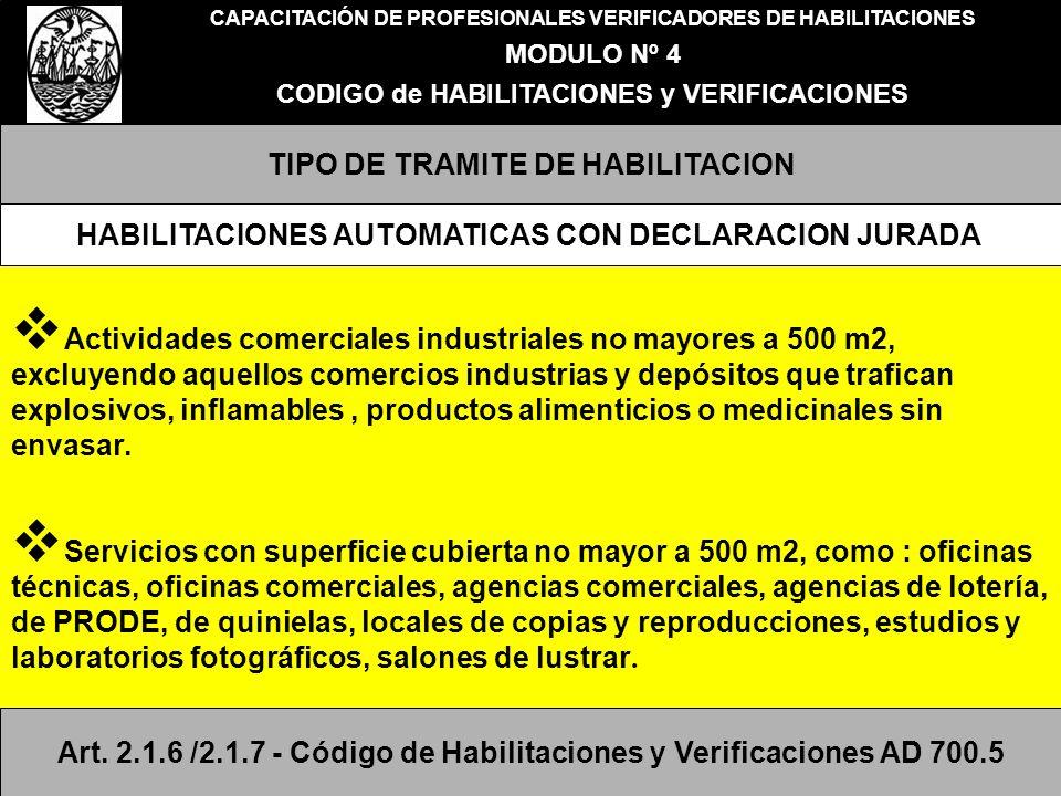 CAPACITACIÓN DE PROFESIONALES VERIFICADORES DE HABILITACIONES MODULO Nº 4 CODIGO de HABILITACIONES y VERIFICACIONES TIPO DE TRAMITE DE HABILITACION Ac