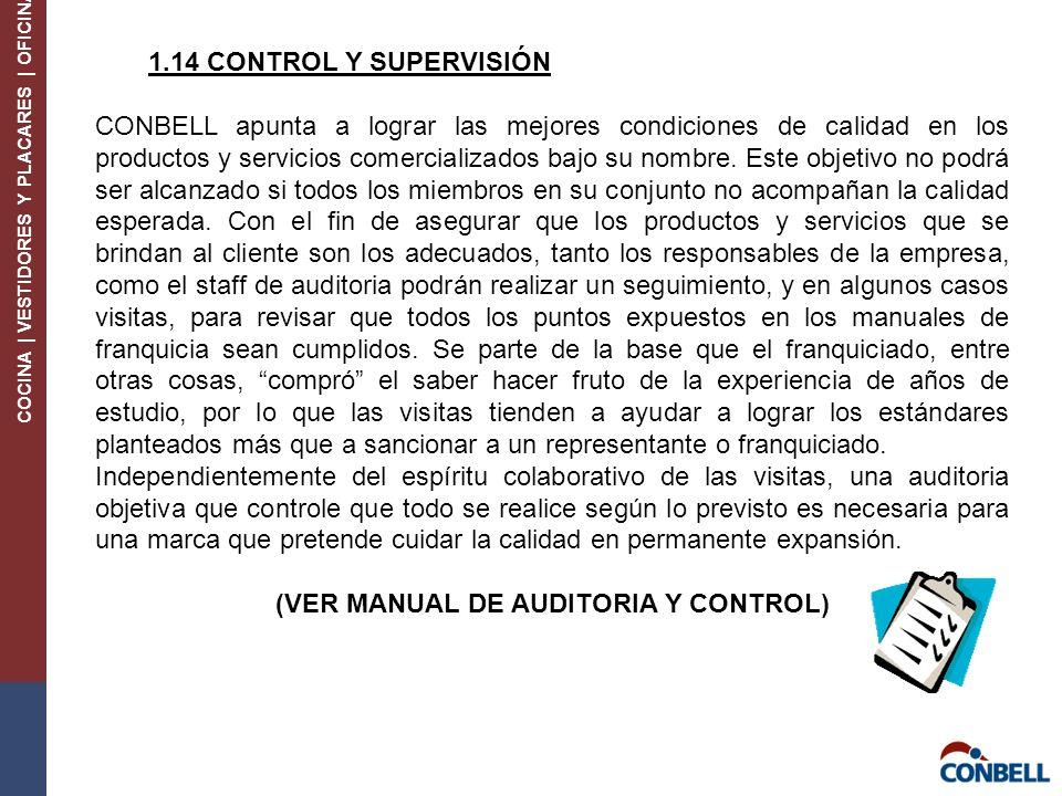 COCINA | VESTIDORES Y PLACARES | OFICINA 1.14 CONTROL Y SUPERVISIÓN CONBELL apunta a lograr las mejores condiciones de calidad en los productos y servicios comercializados bajo su nombre.