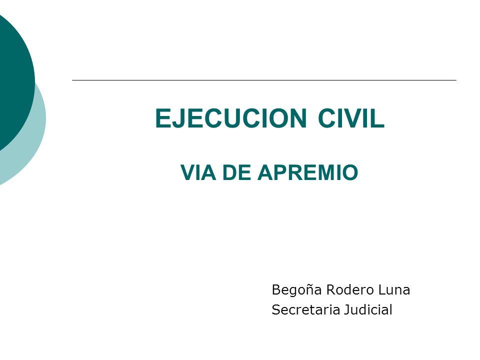 EJECUCION CIVIL VIA DE APREMIO Begoña Rodero Luna Secretaria Judicial