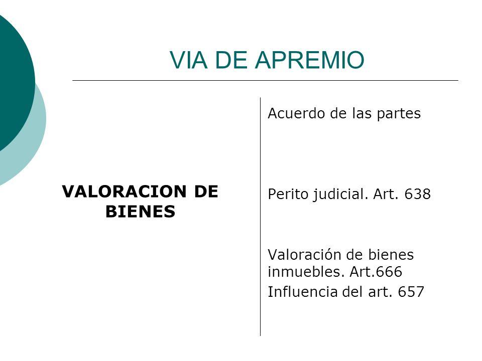 VIA DE APREMIO VALORACION DE BIENES Acuerdo de las partes Perito judicial. Art. 638 Valoración de bienes inmuebles. Art.666 Influencia del art. 657