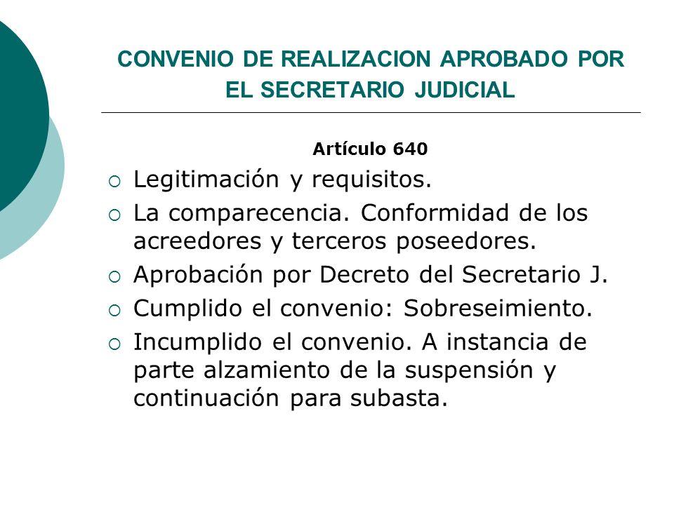 CONVENIO DE REALIZACION APROBADO POR EL SECRETARIO JUDICIAL Artículo 640 Legitimación y requisitos. La comparecencia. Conformidad de los acreedores y