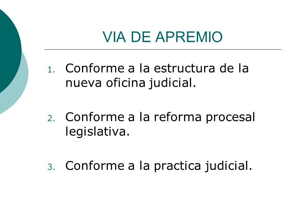 VIA DE APREMIO 1. Conforme a la estructura de la nueva oficina judicial. 2. Conforme a la reforma procesal legislativa. 3. Conforme a la practica judi