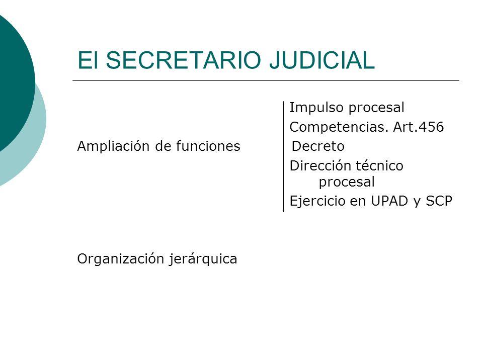 El SECRETARIO JUDICIAL Impulso procesal Competencias. Art.456 Ampliación de funciones Decreto Dirección técnico procesal Ejercicio en UPAD y SCP Organ