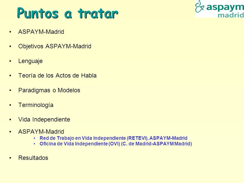 Puntos a tratar ASPAYM-Madrid Objetivos ASPAYM-Madrid Lenguaje Teoría de los Actos de Habla Paradigmas o Modelos Terminología Vida Independiente ASPAY
