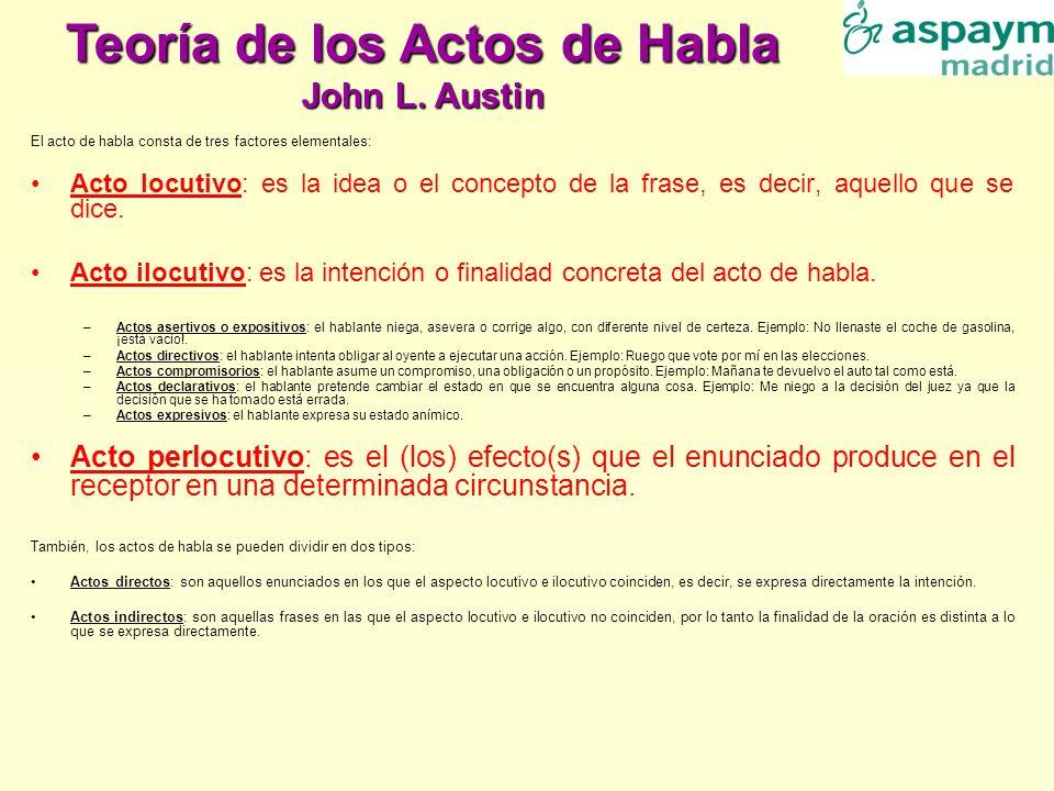 El acto de habla consta de tres factores elementales: Acto locutivo: es la idea o el concepto de la frase, es decir, aquello que se dice. Acto ilocuti