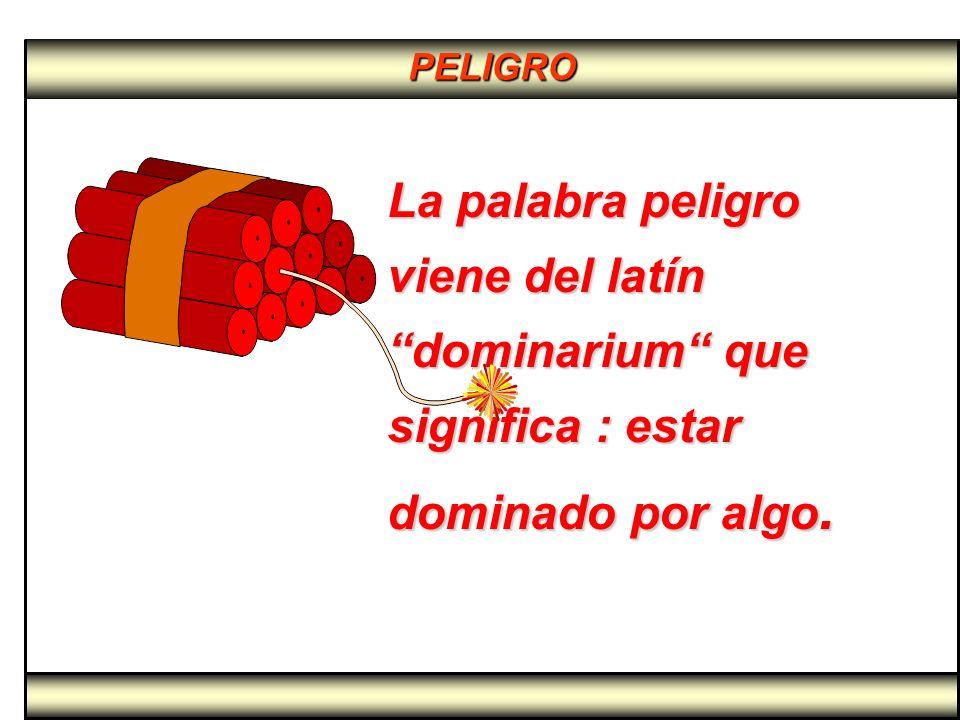 PELIGRO La palabra peligro viene del latín dominarium que significa : estar dominado por algo. La palabra peligro viene del latín dominarium que signi