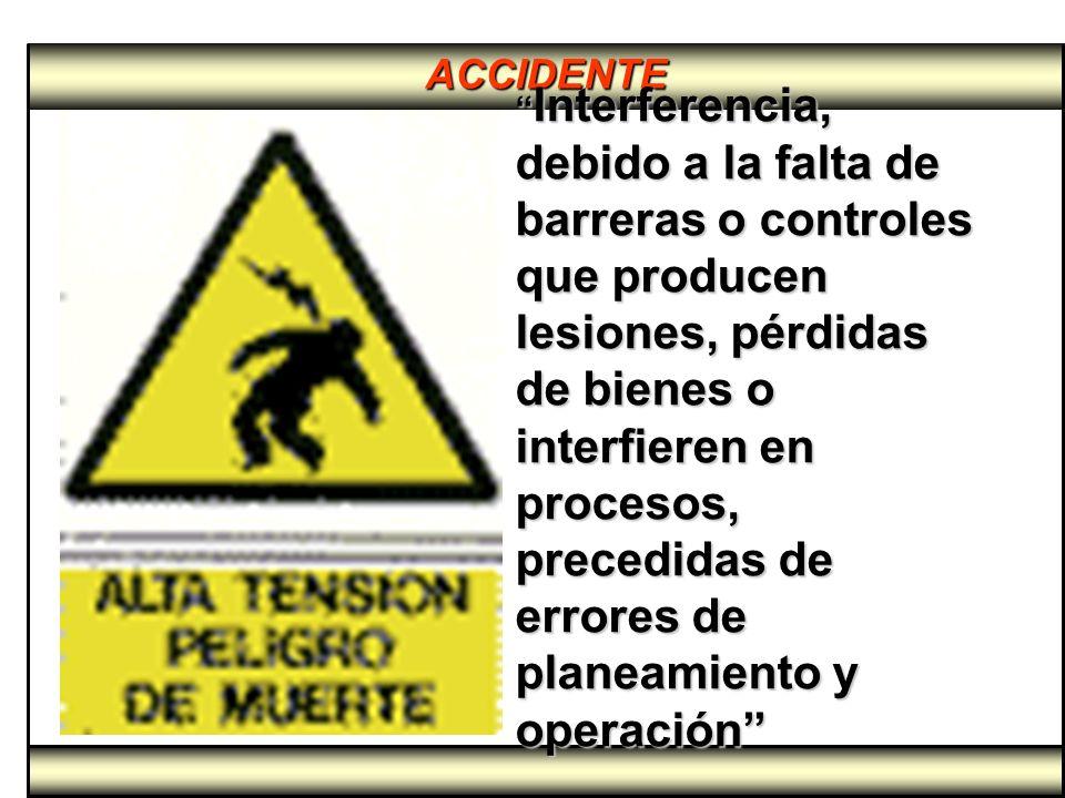 ACCIDENTE Interferencia, debido a la falta de barreras o controles que producen lesiones, pérdidas de bienes o interfieren en procesos, precedidas de