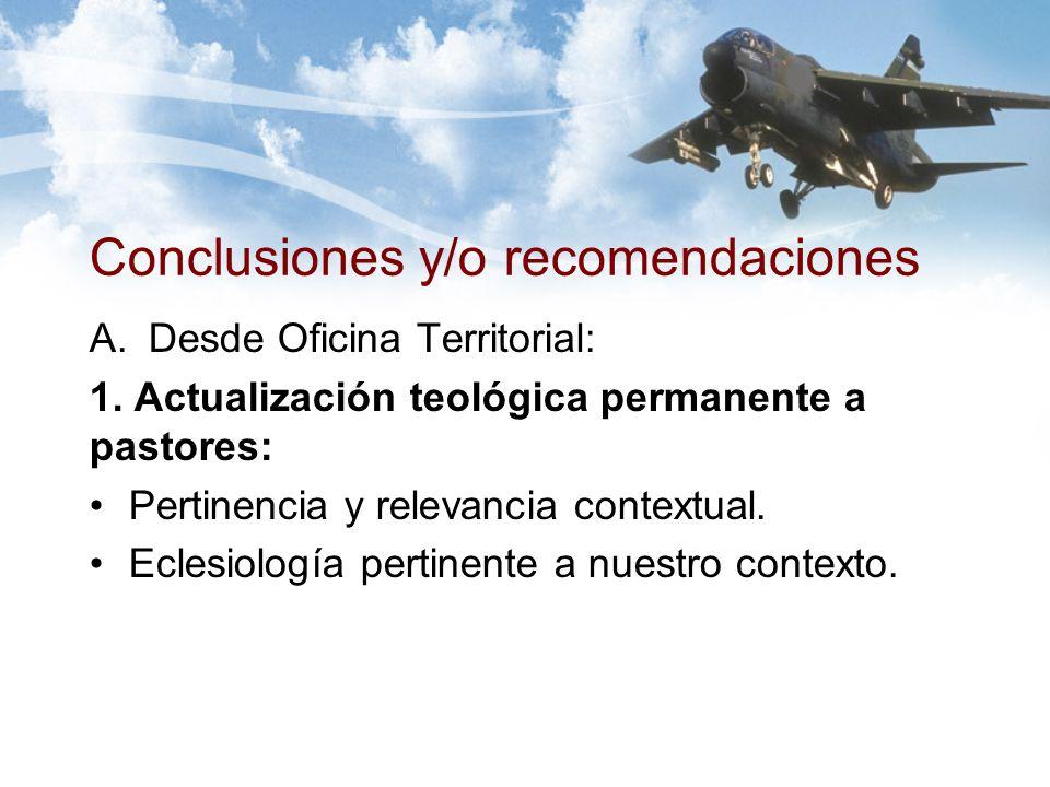 Conclusiones y/o recomendaciones A.Desde Oficina Territorial: 1.