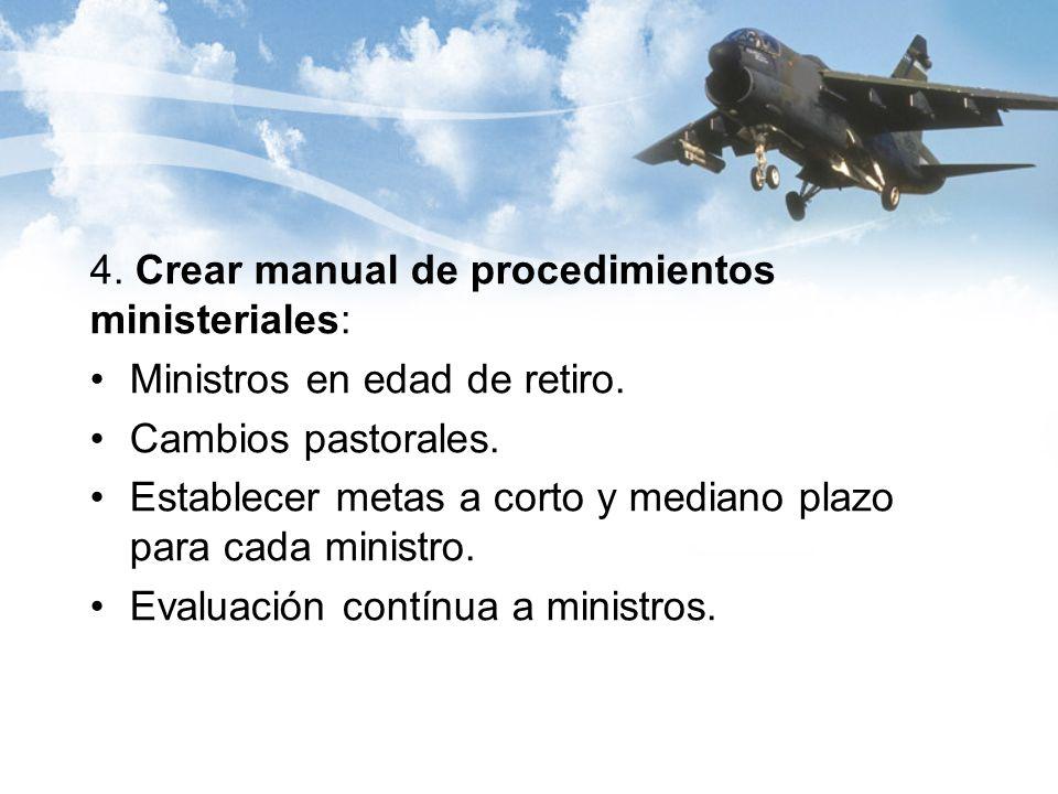 4. Crear manual de procedimientos ministeriales: Ministros en edad de retiro.