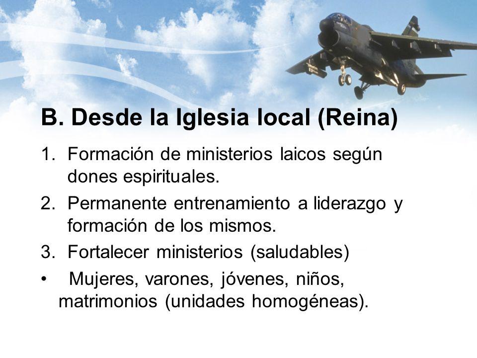 B. Desde la Iglesia local (Reina) 1.Formación de ministerios laicos según dones espirituales.