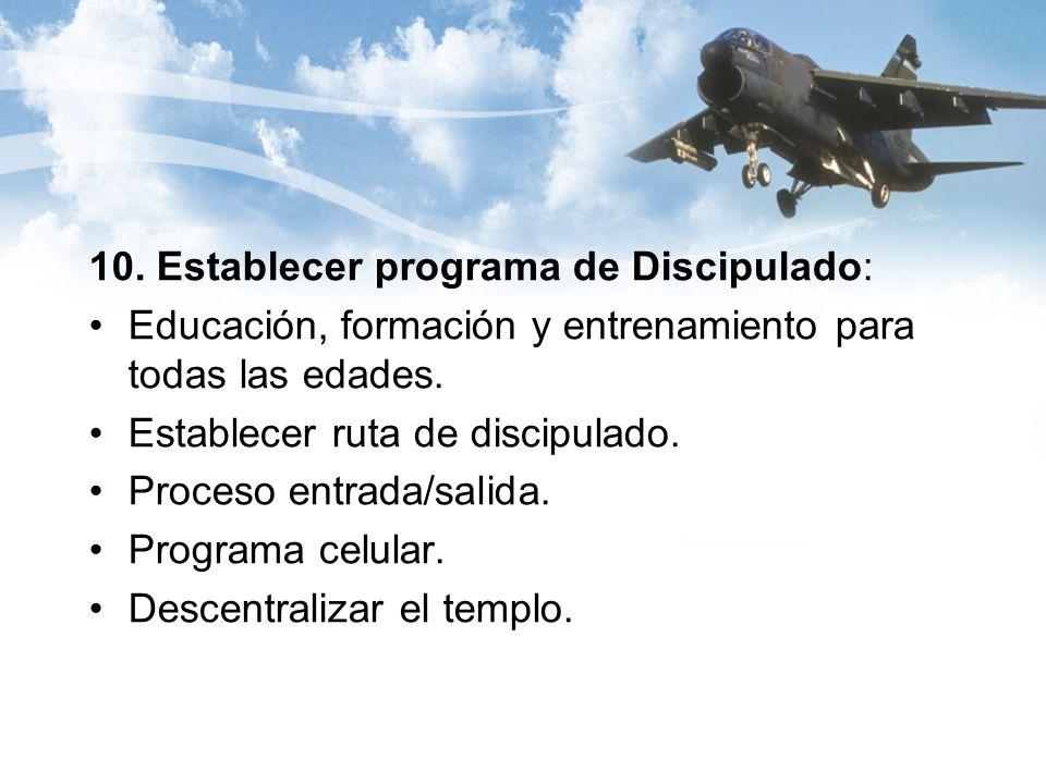 10. Establecer programa de Discipulado: Educación, formación y entrenamiento para todas las edades.