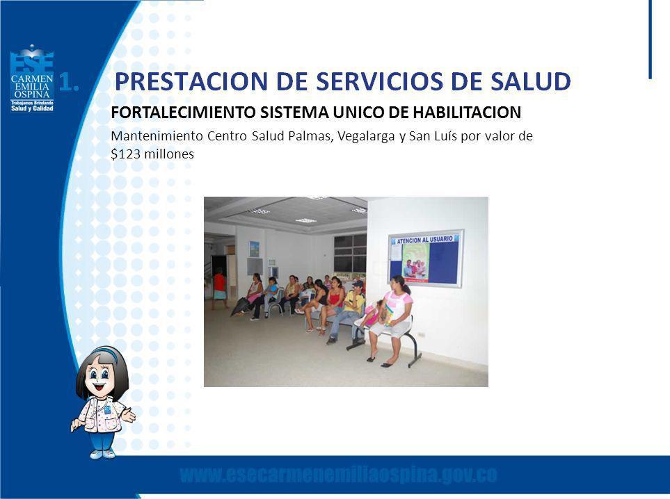 FORTALECIMIENTO SISTEMA UNICO DE HABILITACION Mantenimiento Centro Salud Palmas, Vegalarga y San Luís por valor de $123 millones