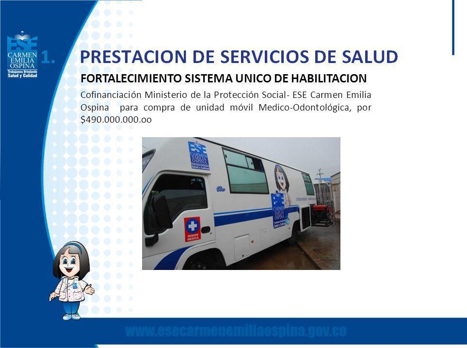 FORTALECIMIENTO SISTEMA UNICO DE HABILITACION Cofinanciación Ministerio de la Protección Social- ESE Carmen Emilia Ospina para compra de unidad móvil Medico-Odontológica, por $490.000.000.oo