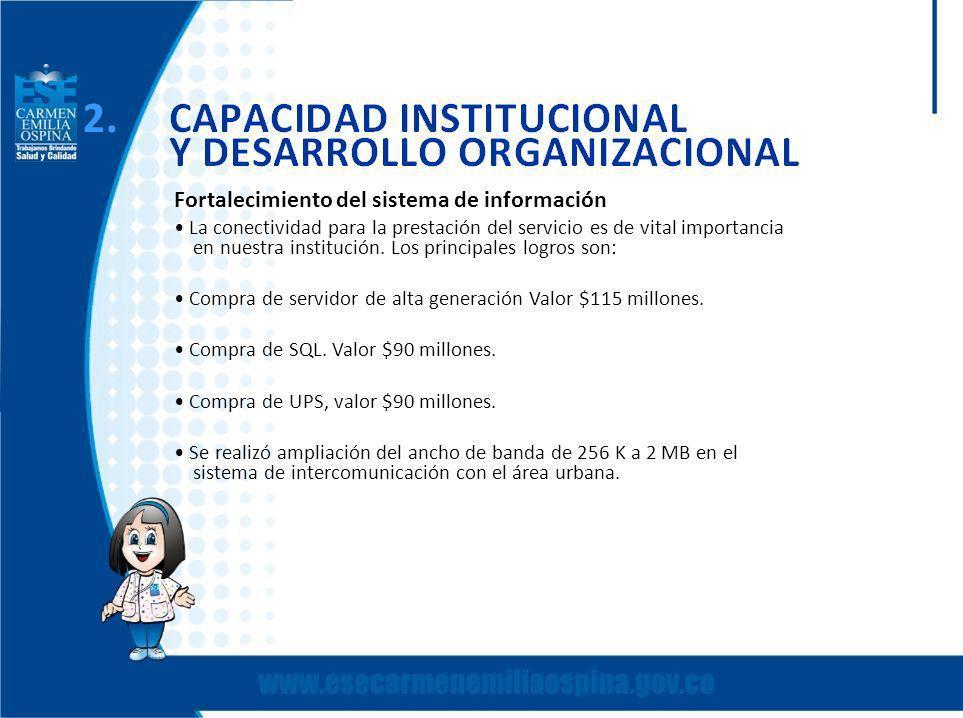 Fortalecimiento del sistema de información La conectividad para la prestación del servicio es de vital importancia en nuestra institución.