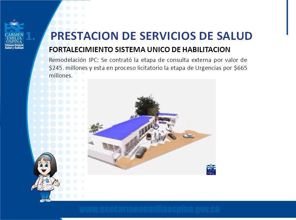 FORTALECIMIENTO SISTEMA UNICO DE HABILITACION Remodelación IPC: Se contrató la etapa de consulta externa por valor de $245.