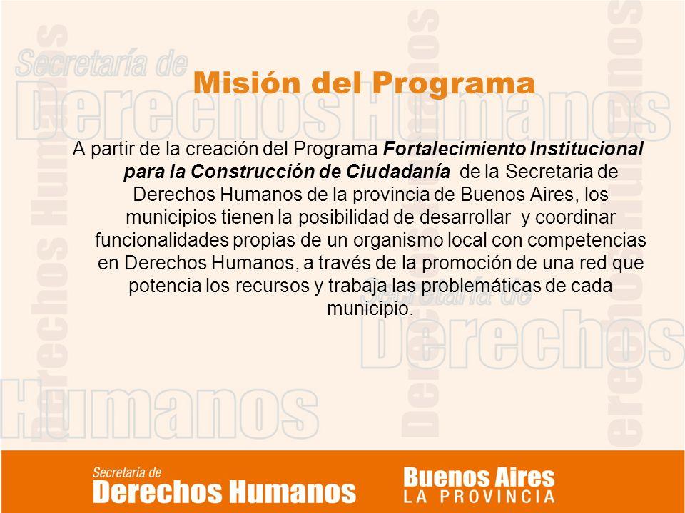 Misión del Programa A partir de la creación del Programa Fortalecimiento Institucional para la Construcción de Ciudadanía de la Secretaria de Derechos Humanos de la provincia de Buenos Aires, los municipios tienen la posibilidad de desarrollar y coordinar funcionalidades propias de un organismo local con competencias en Derechos Humanos, a través de la promoción de una red que potencia los recursos y trabaja las problemáticas de cada municipio.