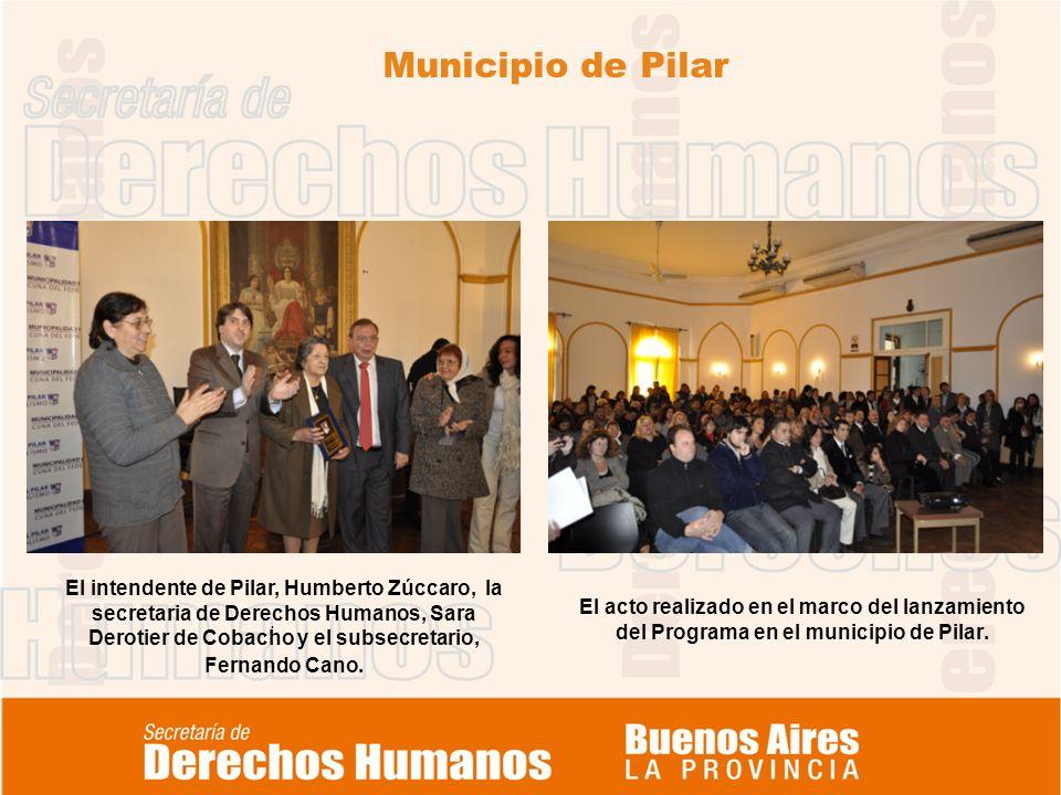 Municipio de Pilar. El acto realizado en el marco del lanzamiento del Programa en el municipio de Pilar. El intendente de Pilar, Humberto Zúccaro, la