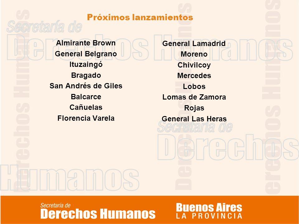 Próximos lanzamientos Almirante Brown General Belgrano Ituzaingó Bragado San Andrés de Giles Balcarce Cañuelas Florencia Varela General Lamadrid Moren