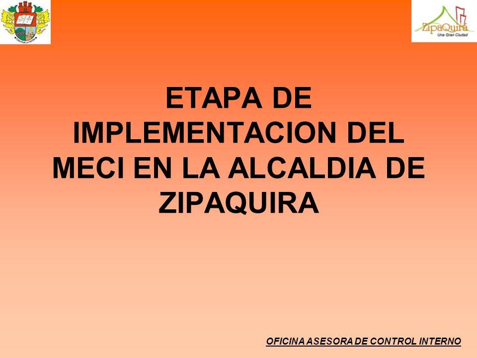 ETAPA DE IMPLEMENTACION DEL MECI EN LA ALCALDIA DE ZIPAQUIRA OFICINA ASESORA DE CONTROL INTERNO