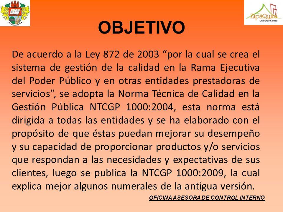 OBJETIVO OFICINA ASESORA DE CONTROL INTERNO De acuerdo a la Ley 872 de 2003 por la cual se crea el sistema de gestión de la calidad en la Rama Ejecuti