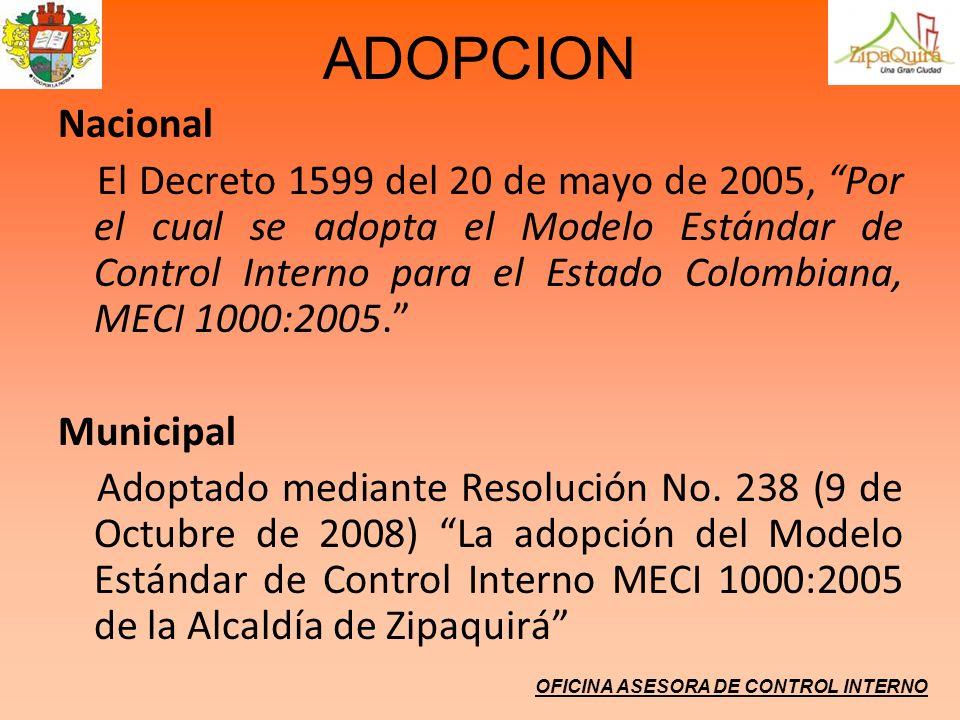 ADOPCION Nacional El Decreto 1599 del 20 de mayo de 2005, Por el cual se adopta el Modelo Estándar de Control Interno para el Estado Colombiana, MECI