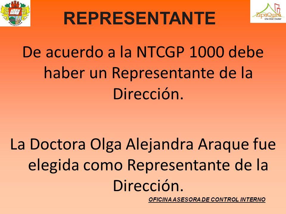 REPRESENTANTE De acuerdo a la NTCGP 1000 debe haber un Representante de la Dirección. La Doctora Olga Alejandra Araque fue elegida como Representante