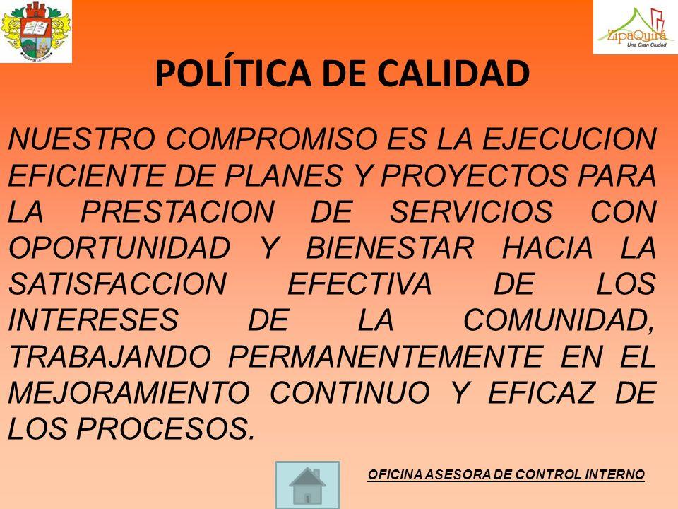 POLÍTICA DE CALIDAD NUESTRO COMPROMISO ES LA EJECUCION EFICIENTE DE PLANES Y PROYECTOS PARA LA PRESTACION DE SERVICIOS CON OPORTUNIDAD Y BIENESTAR HAC
