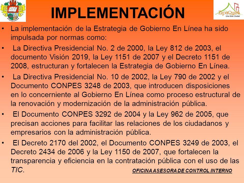OFICINA ASESORA DE CONTROL INTERNO IMPLEMENTACIÓN La implementación de la Estrategia de Gobierno En Línea ha sido impulsada por normas como: La Direct