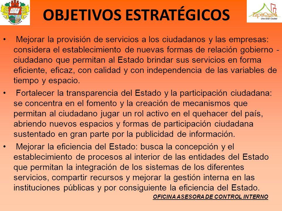 OFICINA ASESORA DE CONTROL INTERNO OBJETIVOS ESTRATÉGICOS Mejorar la provisión de servicios a los ciudadanos y las empresas: considera el establecimie