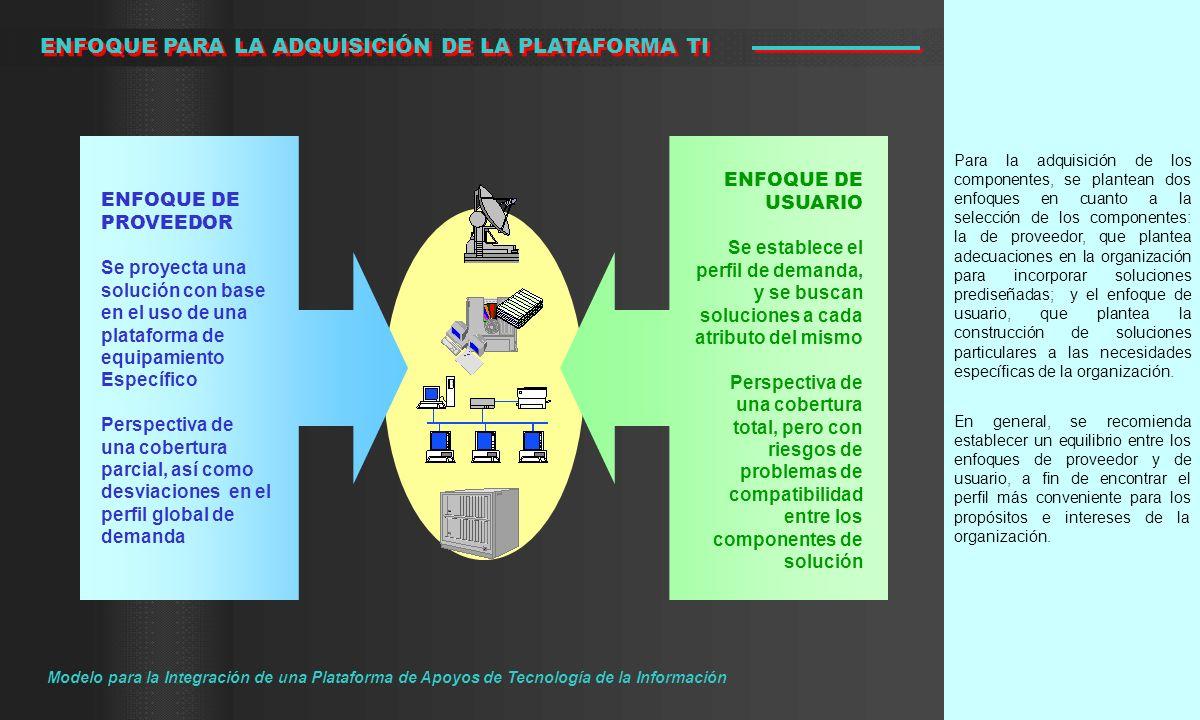 Para la adquisición de los componentes, se plantean dos enfoques en cuanto a la selección de los componentes: la de proveedor, que plantea adecuacione