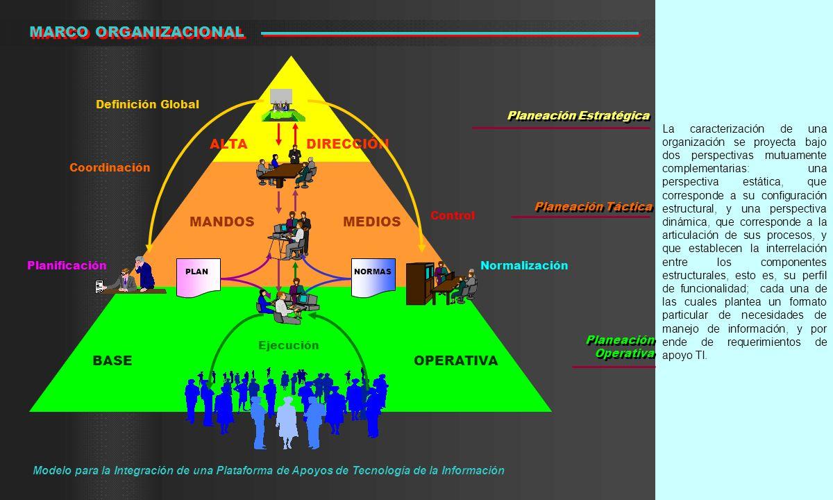 La caracterización de una organización se proyecta bajo dos perspectivas mutuamente complementarias: una perspectiva estática, que corresponde a su co