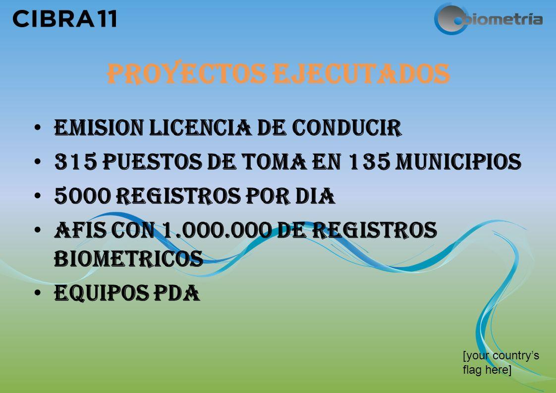 PROYECTOS EJECUTADOS EMISION LICENCIA DE CONDUCIR 315 PUESTOS DE TOMA EN 135 MUNICIPIOS 5000 REGISTROS POR DIA AFIS CON 1.000.000 DE REGISTROS BIOMETRICOS EQUIPOS PDA