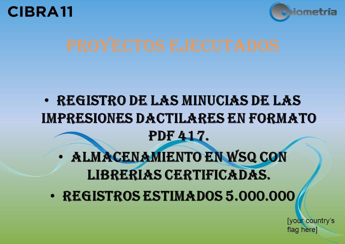[your countrys flag here] PROYECTOS EJECUTADOS REGISTRO DE LAS MINUCIAS DE LAS IMPRESIONES DACTILARES EN FORMATO PDF 417.