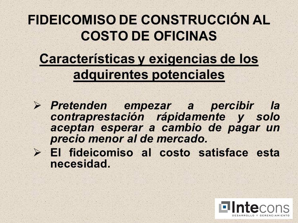 FIDEICOMISO DE CONSTRUCCIÓN AL COSTO DE OFICINAS Características y exigencias de los adquirentes potenciales Sofisticación en el análisis de la inversión.