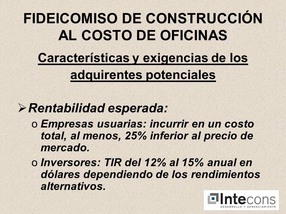 FIDEICOMISO DE CONSTRUCCION AL COSTO DE OFICINAS Características y exigencias de los adquirentes potenciales Reclamo por eventuales vicios constructivos.