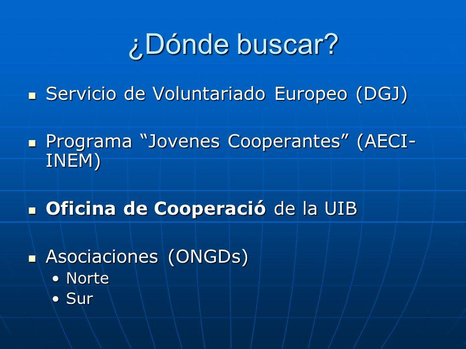 ¿Dónde buscar? Servicio de Voluntariado Europeo (DGJ) Servicio de Voluntariado Europeo (DGJ) Programa Jovenes Cooperantes (AECI- INEM) Programa Jovene