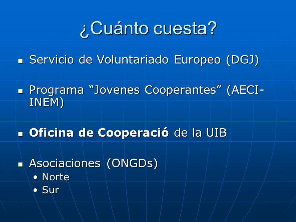 Servicio de Voluntariado Europeo (DGJ) Servicio de Voluntariado Europeo (DGJ) Programa Jovenes Cooperantes (AECI- INEM) Programa Jovenes Cooperantes (AECI- INEM) Oficina de Cooperació de la UIB Oficina de Cooperació de la UIB Asociaciones (ONGDs) Asociaciones (ONGDs) NorteNorte SurSur