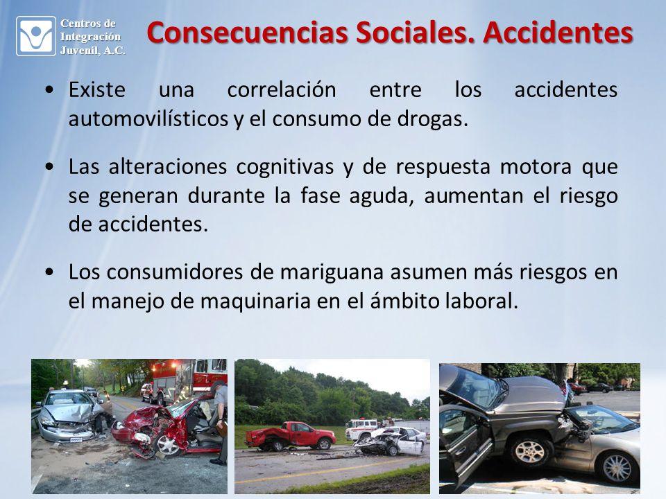 Existe una correlación entre los accidentes automovilísticos y el consumo de drogas.