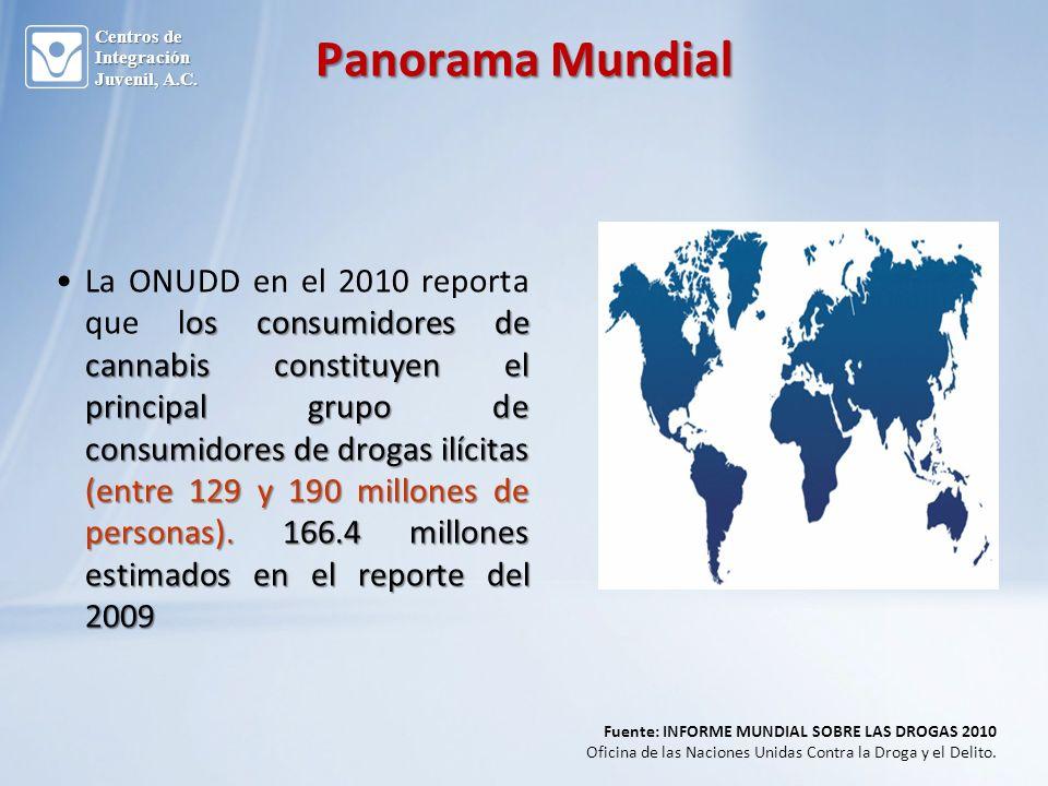 os consumidores de cannabis constituyen el principal grupo de consumidores de drogas ilícitas (entre 129 y 190 millones de personas).