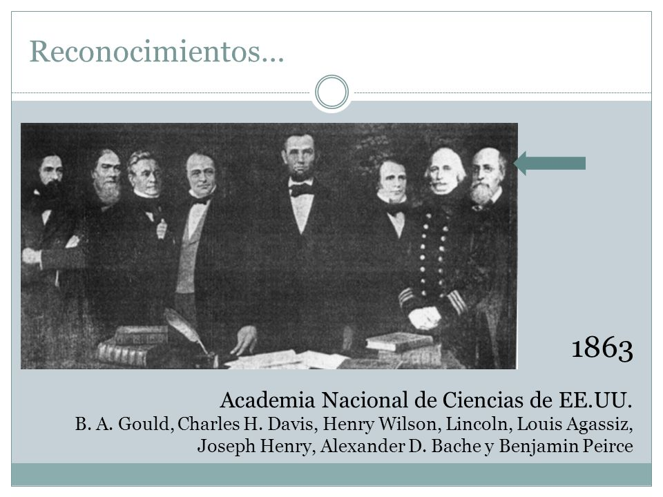 Academia Nacional de Ciencias de EE.UU. B. A. Gould, Charles H. Davis, Henry Wilson, Lincoln, Louis Agassiz, Joseph Henry, Alexander D. Bache y Benjam
