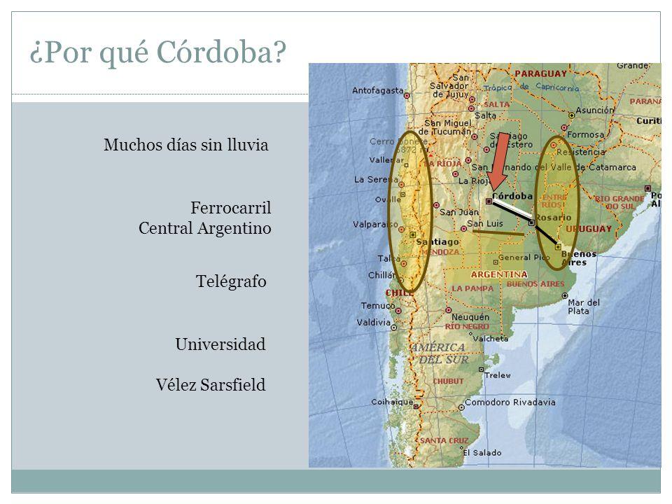 ¿Por qué Córdoba? Ferrocarril Central Argentino Telégrafo Universidad Vélez Sarsfield Muchos días sin lluvia