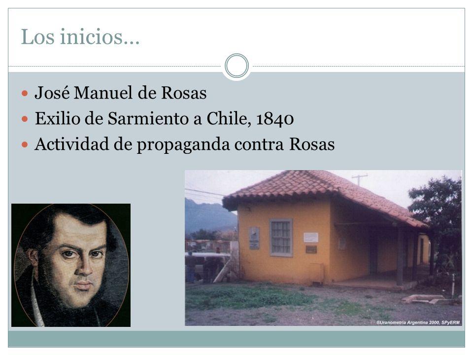 Los inicios… José Manuel de Rosas Exilio de Sarmiento a Chile, 1840 Actividad de propaganda contra Rosas