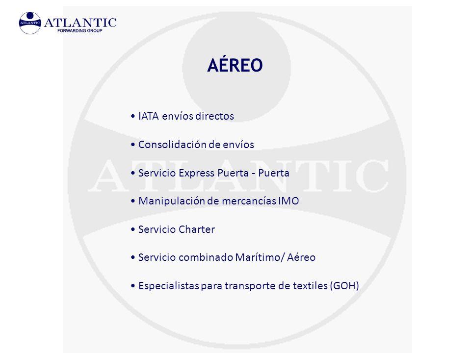 AÉREO IATA envíos directos Consolidación de envíos Servicio Express Puerta - Puerta Manipulación de mercancías IMO Servicio Charter Servicio combinado