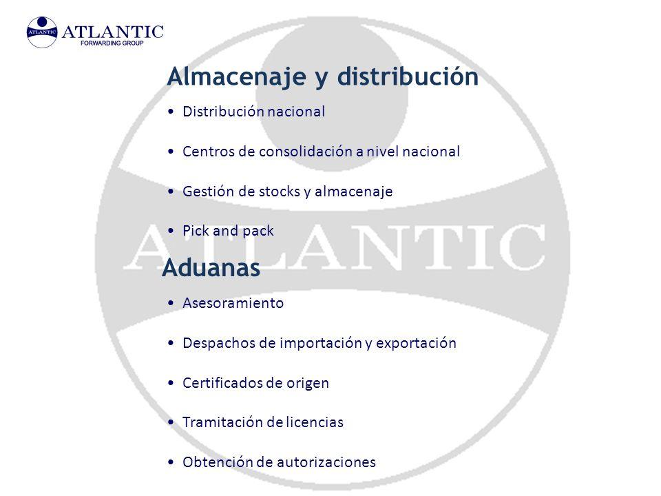 Almacenaje y distribución Distribución nacional Centros de consolidación a nivel nacional Gestión de stocks y almacenaje Pick and pack Aduanas Asesora
