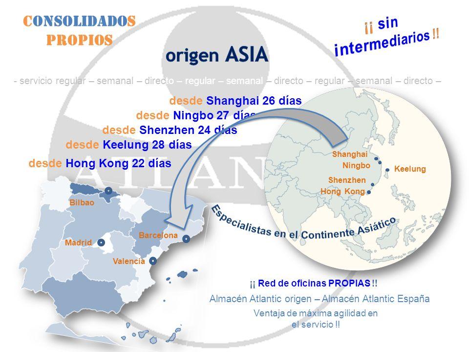 Consolidados Propios Ventaja de máxima agilidad en el servicio !! Ningbo Shenzhen Hong Kong Keelung Shanghai desde Shanghai 26 días desde Ningbo 27 dí