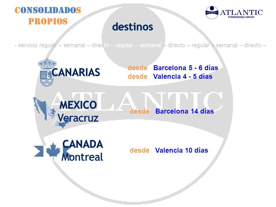 Consolidados Propios desde Barcelona 14 días - servicio regular – semanal – directo – regular – semanal – directo – regular – semanal – directo – desd