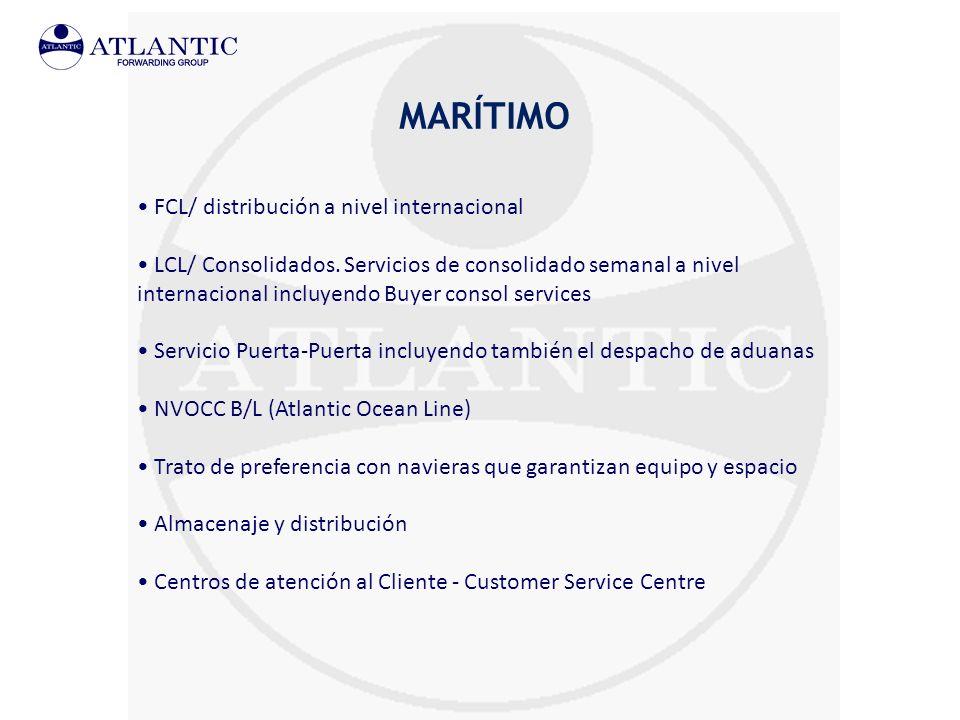 MARÍTIMO FCL/ distribución a nivel internacional LCL/ Consolidados. Servicios de consolidado semanal a nivel internacional incluyendo Buyer consol ser