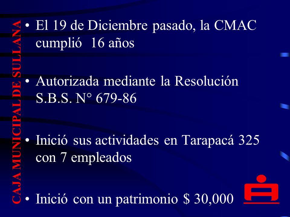 CAJA MUNICIPAL DE SULLANA El 19 de Diciembre pasado, la CMAC cumplió 16 años Autorizada mediante la Resolución S.B.S.