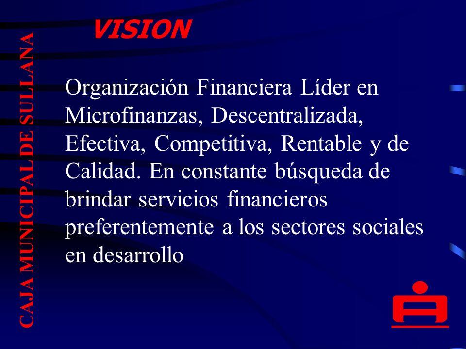 Organización Financiera Líder en Microfinanzas, Descentralizada, Efectiva, Competitiva, Rentable y de Calidad.
